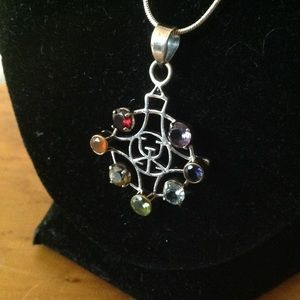 925 Sterling Chakra Rainbow Pendant with Chain